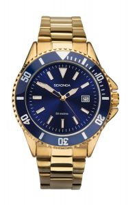 Sekonda Mens Quartz Watch With Blue Dial Analogue Display And Gold Plated Bracelet 1516