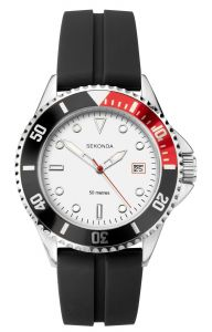 Sekonda Mens Sports Watch with White Dial and Black Rubber Strap 1797