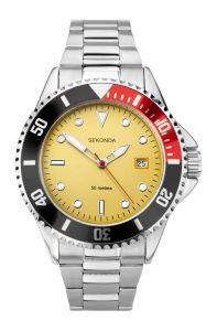 Sekonda Mens Sports Watch with Yellow Dial and Stainless Steel Bracelet 1799