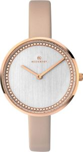 Accurist Ladies Analogue Quartz Watch With Silver Dial And Nude Leather Strap 8231