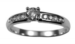 Ladies 9k White Gold Solitaire Diamond Engagement Ring With Diamond Shoulders 0.33ct