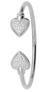 Stunning Sterling Silver CZ Heart Baby Torque Bangle
