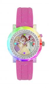 Tikkers Disney Princess Light Up Analogue Watch With Pink Silicon Strap PN1067 (Tangled, Beauty And The Beast, The Little Mermaid)