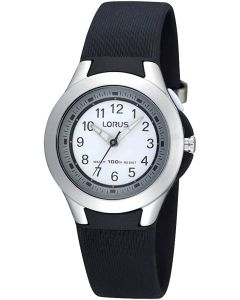 Lorus Ladies Watch with White Dial and Black Strap R2305FX9