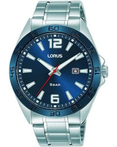 Lorus Mens Watch with Blue Dial and Silver Stainless Steel Strap RH913NX9