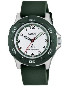Lorus Boys Watch with Green Strap and White Dial RRX15GX9