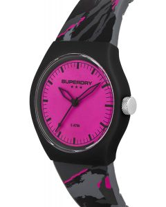 Superdry Casual Ladies Watch with Pink Dial and Grey Strap SYL270BP
