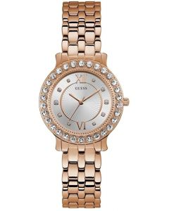 Guess Blush Ladies Watch with Rose Gold Bracelet and Silver Sunray Dial W1062L3