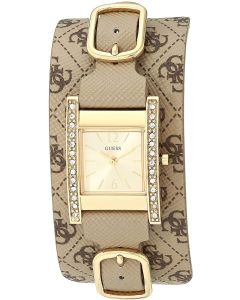 Guess Buckle Up Ladies Watch with Gold Dial and Leather Cuff W1136L6